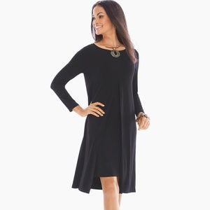 Chico's Solid Black Double-layer Midi Dress